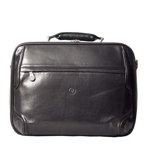 Image 1 of the 'Volterra' Black Veg Tanned Leather Laptop Case