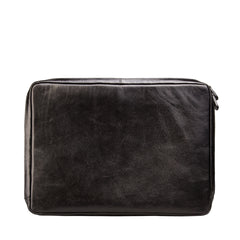 Image 3 of the 'Bovino' Black Veg-Tanned Leather 14 inch Laptop Case