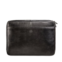 Image 1 of the 'Bovino' Black Veg-Tanned Leather 14 inch Laptop Case