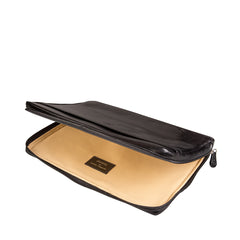 Image 5 of the 'Bovino' Black Veg-Tanned Leather 14 inch Laptop Case