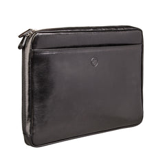 Image 2 of the 'Bovino' Black Veg-Tanned Leather 14 inch Laptop Case