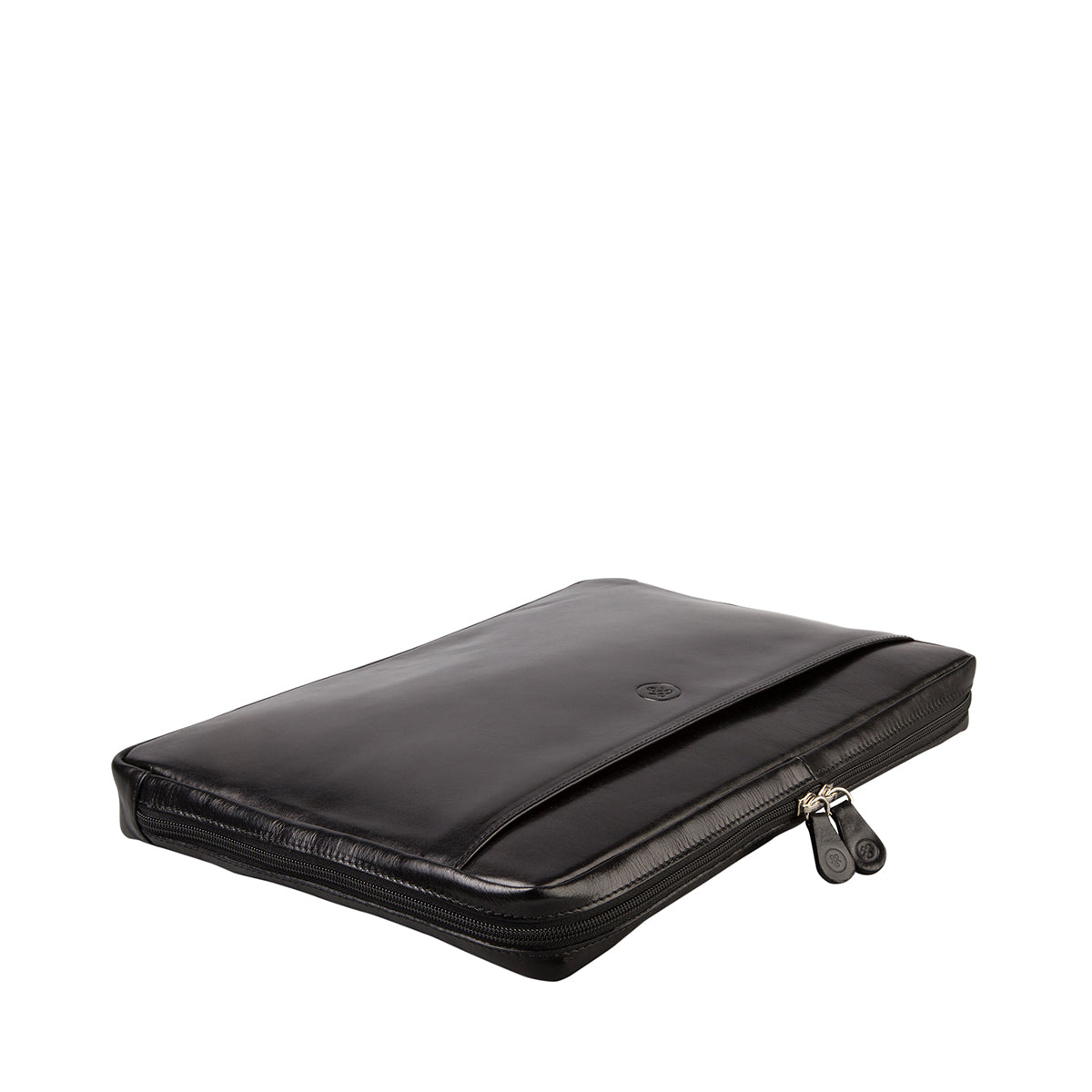 Image 4 of the 'Bovino' Black Veg-Tanned Leather 14 inch Laptop Case