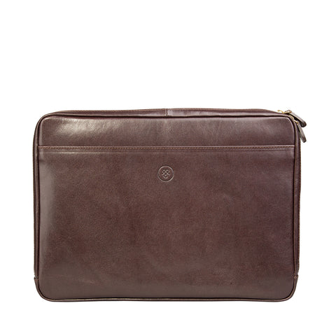 Image 1 of the 'Bovino' Dark Chocolate Veg-Tanned Leather 14 inch Laptop Case