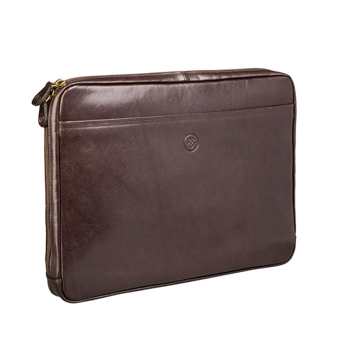 Image 2 of the 'Bovino' Dark Chocolate Veg-Tanned Leather 14 inch Laptop Case