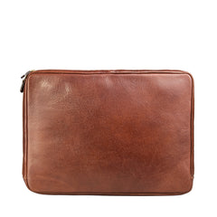 Image 3 of the 'Bovino' Chestnut Tan Veg-Tanned Leather 14 inch Laptop Case
