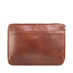 Image 1 of the 'Bovino' Chestnut Tan Veg-Tanned Leather 14 inch Laptop Case