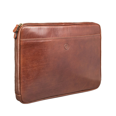 Image 2 of the 'Bovino' Chestnut Tan Veg-Tanned Leather 14 inch Laptop Case