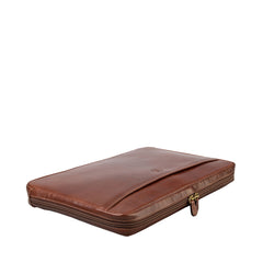 Image 4 of the 'Bovino' Chestnut Tan Veg-Tanned Leather 14 inch Laptop Case