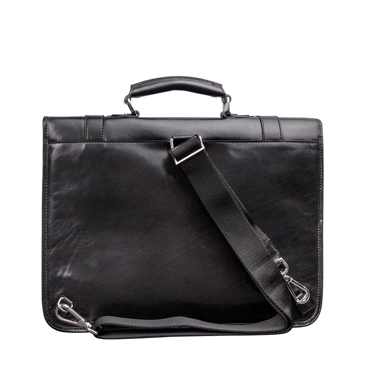 Image 4 of the 'Micheli' Black Veg-Tanned Leather Backpack Briefcase