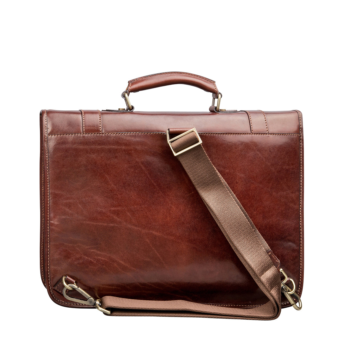 Image 4 of the 'Micheli' Chestnut Veg-Tanned Leather Backpack Briefcase