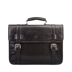 Image 1 of the 'Micheli' Black Veg-Tanned Leather Backpack Briefcase
