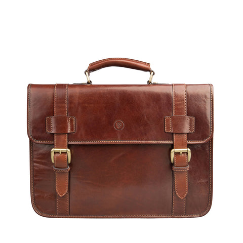 Image 1 of the 'Micheli' Chestnut Veg-Tanned Leather Backpack Briefcase