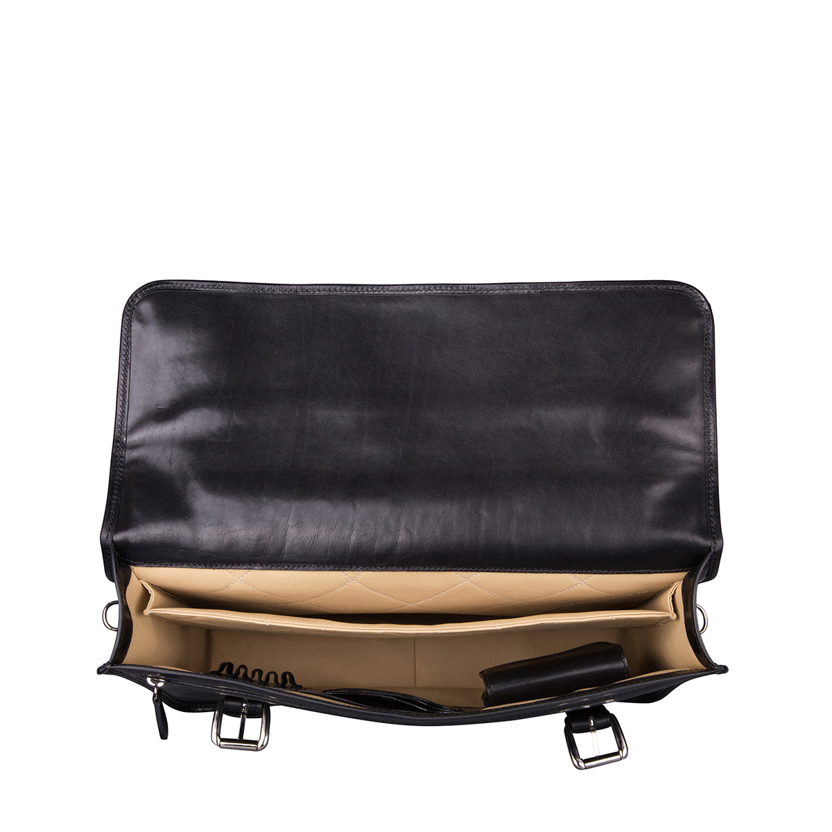 Image 3 of the 'Micheli' Black Veg-Tanned Leather Backpack Briefcase