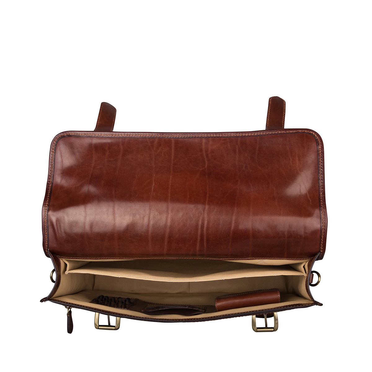 Image 3 of the 'Micheli' Chestnut Veg-Tanned Leather Backpack Briefcase