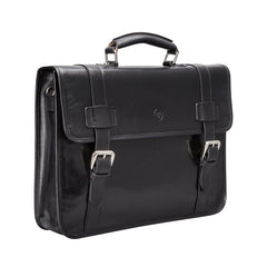 Image 2 of the 'Micheli' Black Veg-Tanned Leather Backpack Briefcase