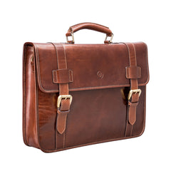 Image 2 of the 'Micheli' Chestnut Veg-Tanned Leather Backpack Briefcase