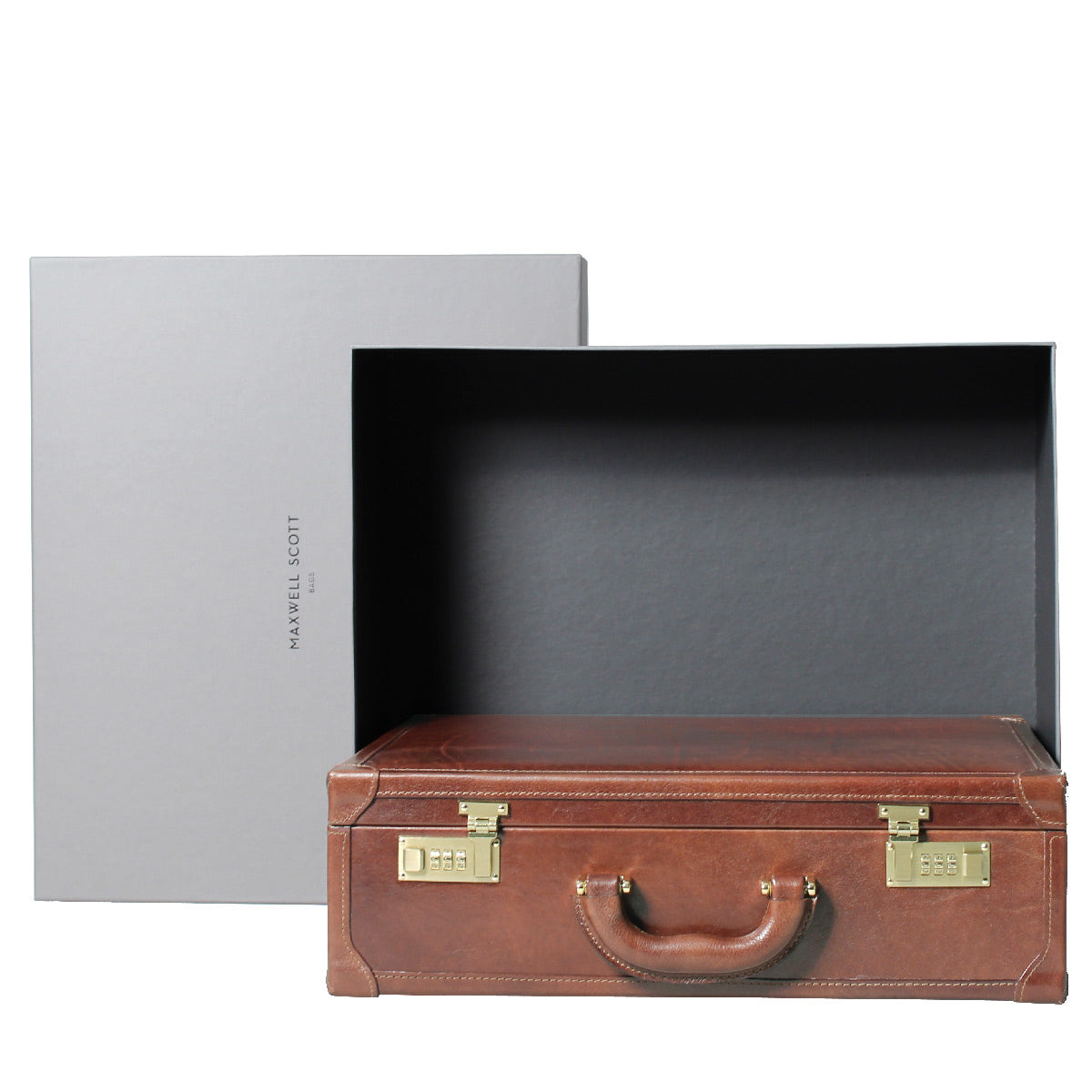 Image 7 of the 'Buroni' Black Veg-Tanned Leather Business Attaché  Case