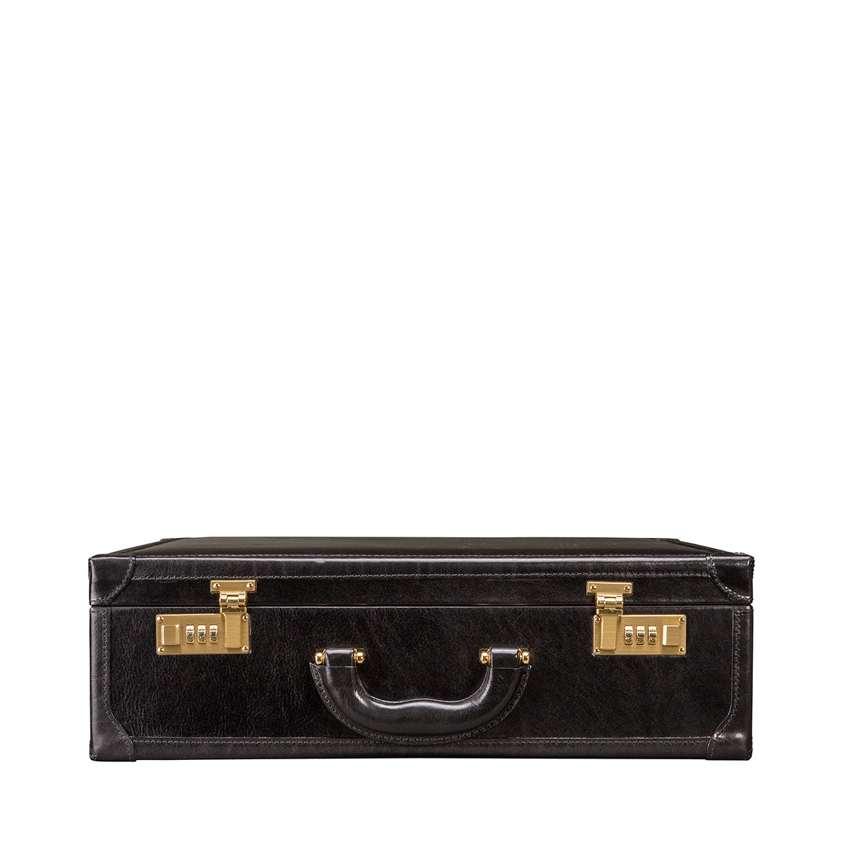 Image 4 of the 'Buroni' Black Veg-Tanned Leather Business Attaché  Case