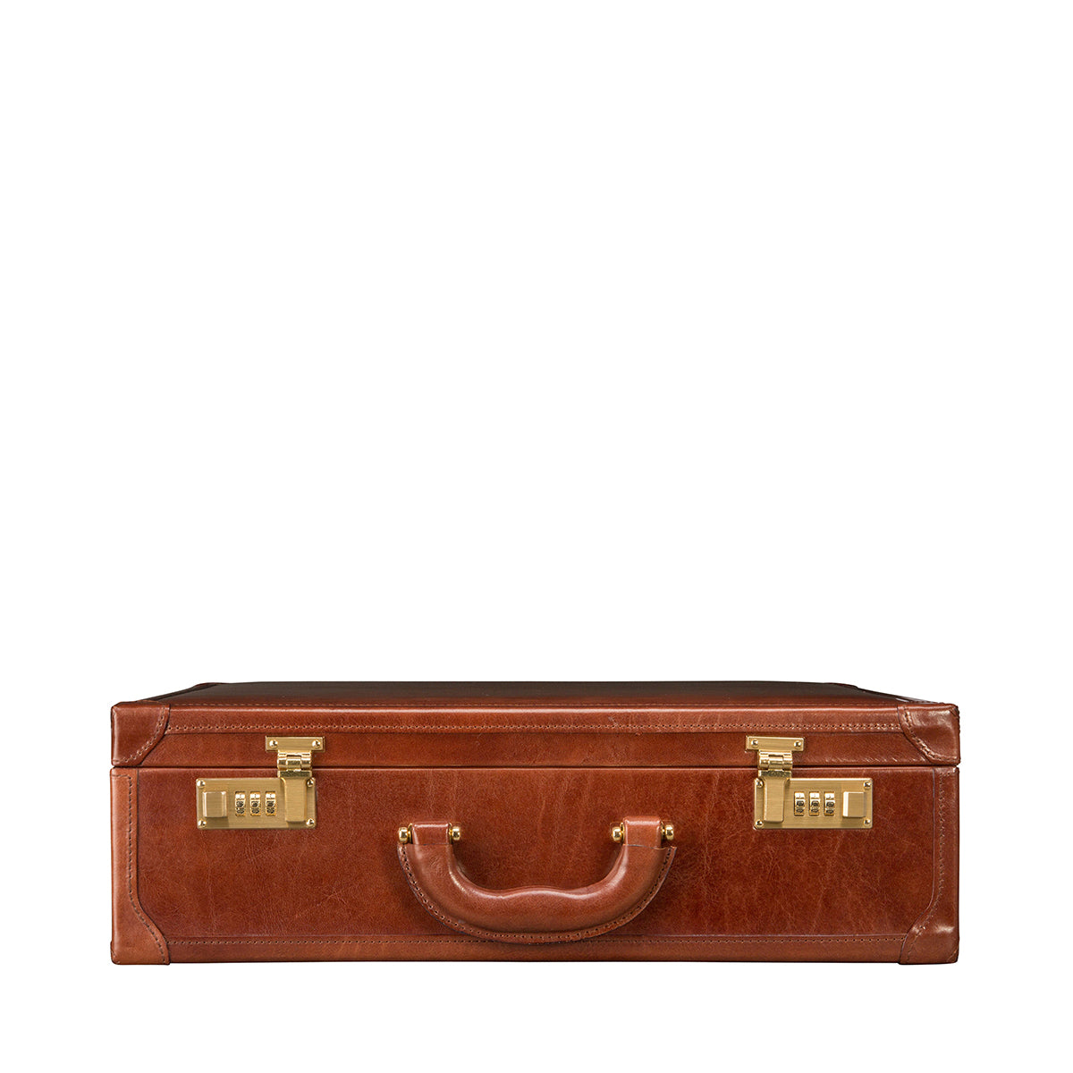 Image 4 of the 'Buroni' Chestnut Veg-Tanned Leather Business Attaché  Case
