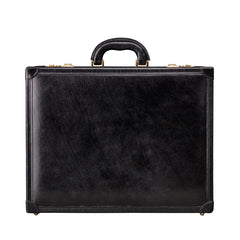 Image 1 of the 'Buroni' Black Veg-Tanned Leather Business Attaché  Case