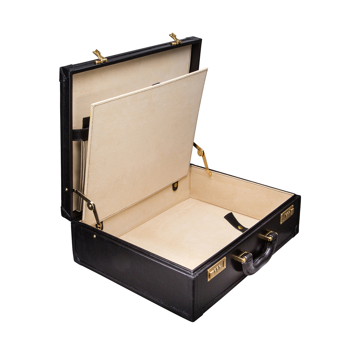 Image 5 of the 'Buroni' Black Veg-Tanned Leather Business Attaché  Case