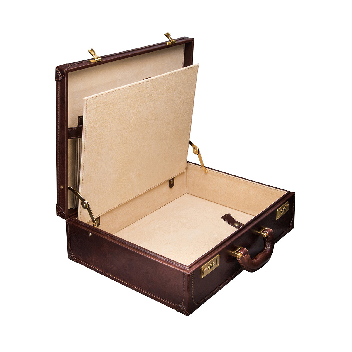 Image 5 of the 'Buroni' Dark Chocolate Veg-Tanned Leather Business Attaché  Case
