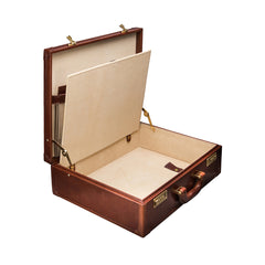 Image 5 of the 'Buroni' Chestnut Veg-Tanned Leather Business Attaché  Case