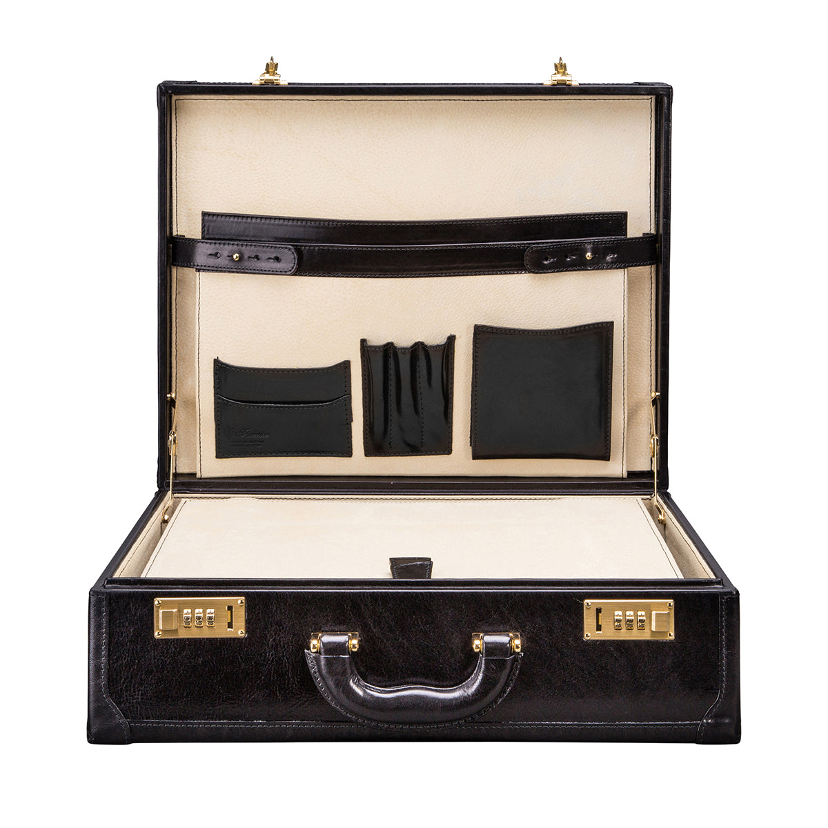 Image 6 of the 'Buroni' Black Veg-Tanned Leather Business Attaché  Case