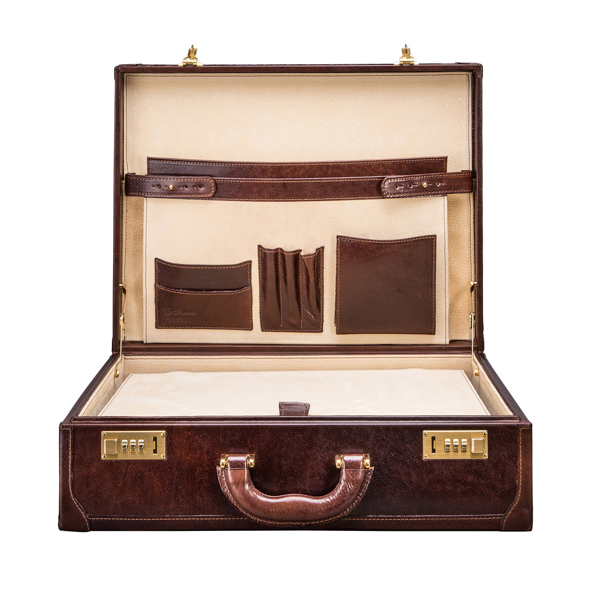 Image 6 of the 'Buroni' Dark Chocolate Veg-Tanned Leather Business Attaché  Case