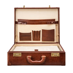 Image 6 of the 'Buroni' Chestnut Veg-Tanned Leather Business Attaché  Case