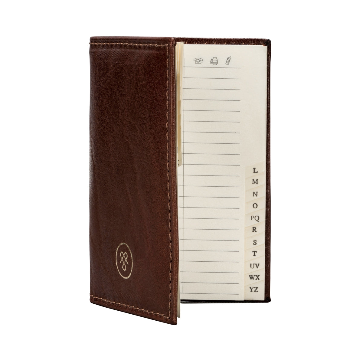 Image 4 of the 'Caldana' Dark Chestnut Mini Pocket Veg-Tanned Leather Address Book