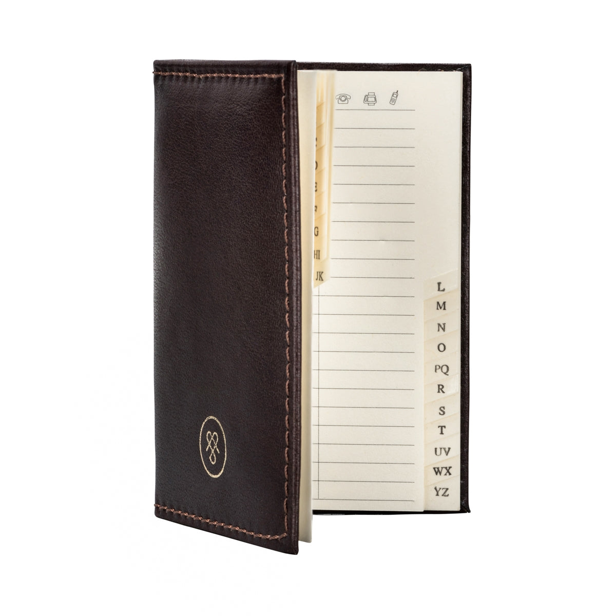 Image 4 of the 'Caldana' Dark Chocolate Mini Pocket Veg-Tanned Leather Address Book