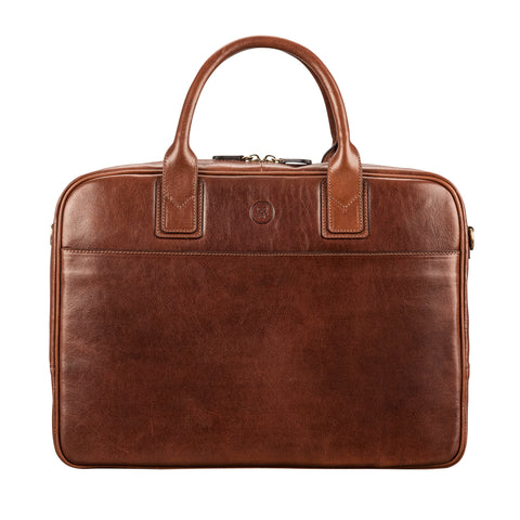 Image 1 of the 'Calvino' Chestnut Veg-Tanned Leather Briefcase