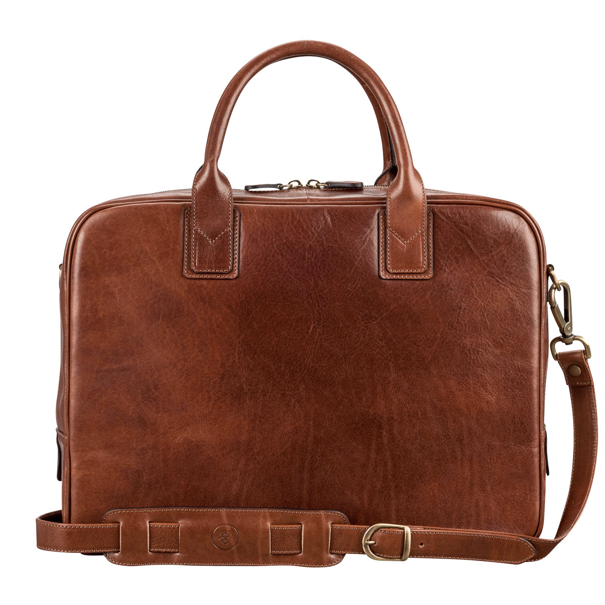 Image 4 of the 'Calvino' Chestnut Veg-Tanned Leather Briefcase