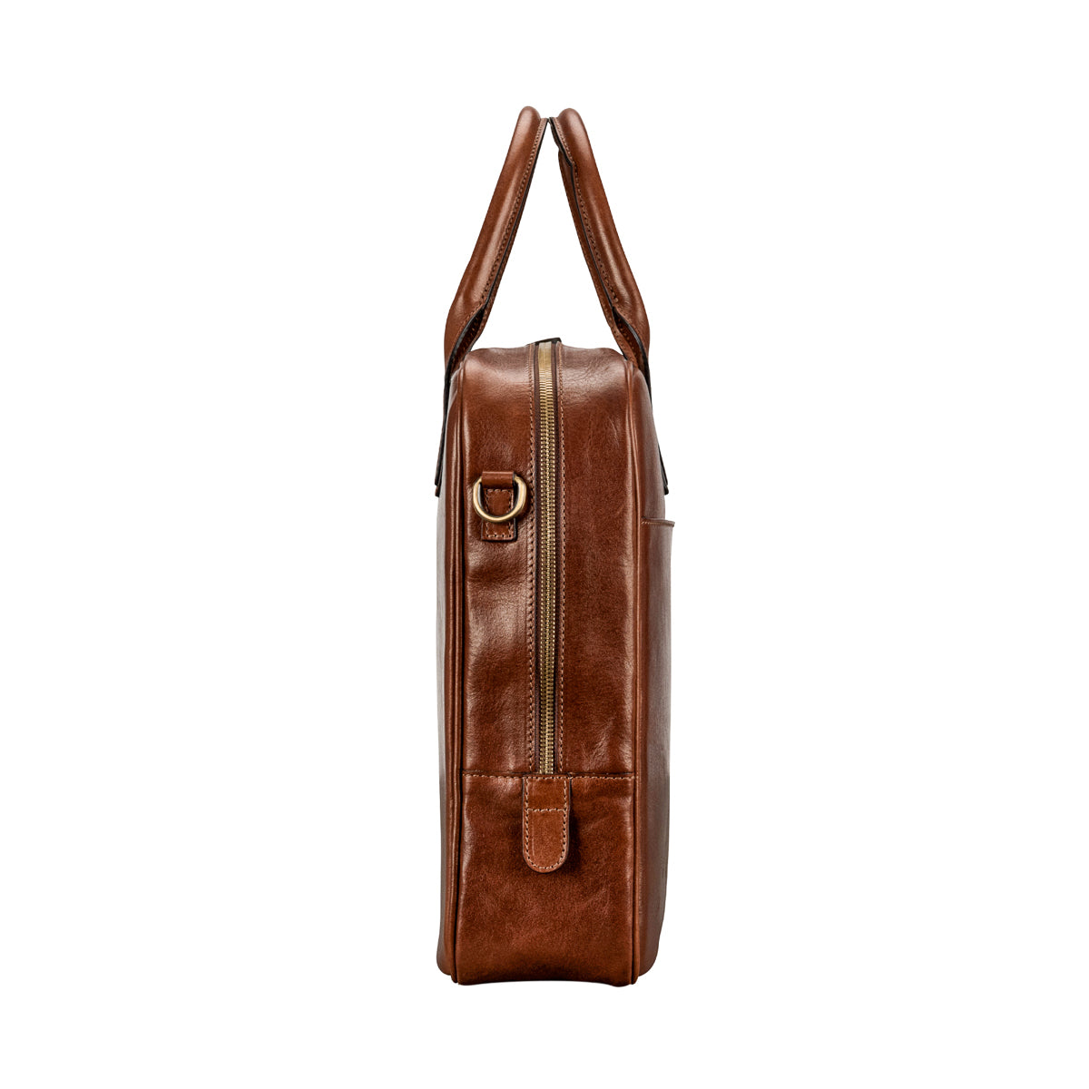 Image 3 of the 'Calvino' Chestnut Veg-Tanned Leather Briefcase