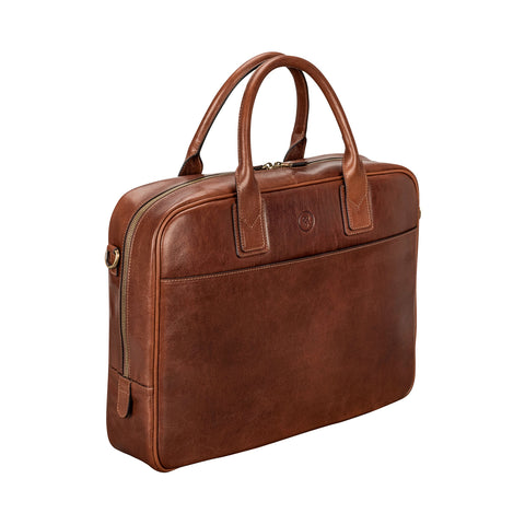 Image 2 of the 'Calvino' Chestnut Veg-Tanned Leather Briefcase