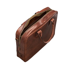 Image 5 of the 'Calvino' Chestnut Veg-Tanned Leather Briefcase