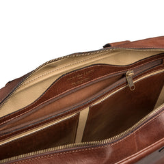 Image 6 of the 'Calvino' Chestnut Veg-Tanned Leather Briefcase