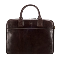 Image 1 of the 'Calvino' Dark Chocolate Veg-Tanned Leather Briefcase
