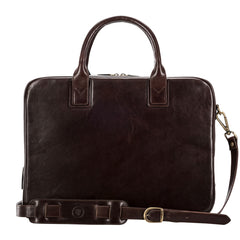 Image 4 of the 'Calvino' Dark Chocolate Veg-Tanned Leather Briefcase