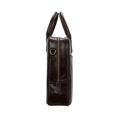 Image 3 of the 'Calvino' Dark Chocolate Veg-Tanned Leather Briefcase