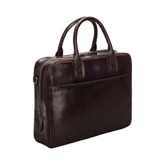 Image 2 of the 'Calvino' Dark Chocolate Veg-Tanned Leather Briefcase