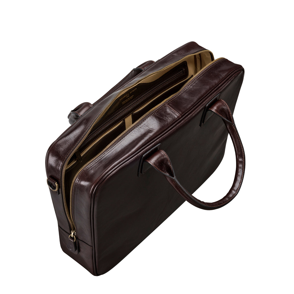 Image 5 of the 'Calvino' Dark Chocolate Veg-Tanned Leather Briefcase