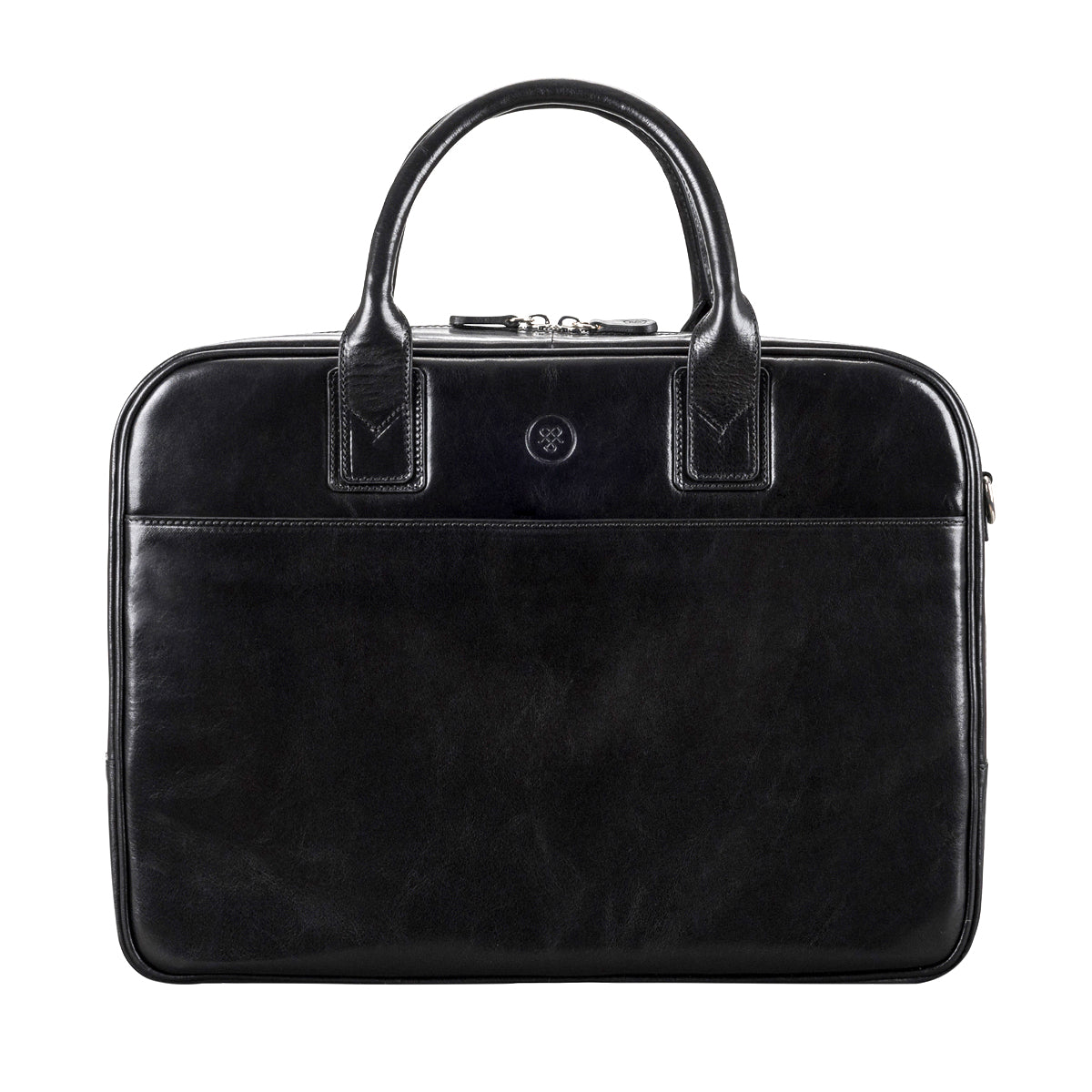 Image 1 of the 'Calvino' Black Veg-Tanned Leather Briefcase