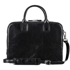 Image 2 of the 'Calvino' Black Veg-Tanned Leather Briefcase