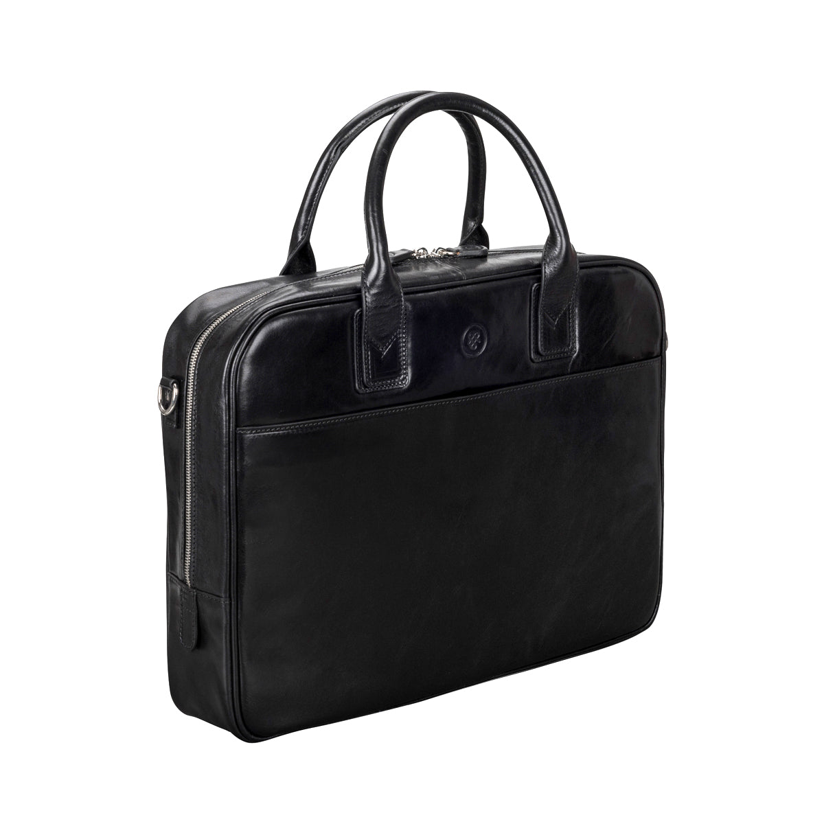 Image 4 of the 'Calvino' Black Veg-Tanned Leather Briefcase