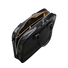 Image 5 of the 'Calvino' Black Veg-Tanned Leather Briefcase