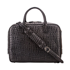 Image 4 of the 'Calvino' Black Croco Veg-Tanned Leather Briefcase