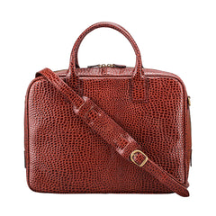 Image 4 of the 'Calvino' Chestnut Croco Veg-Tanned Leather Briefcase