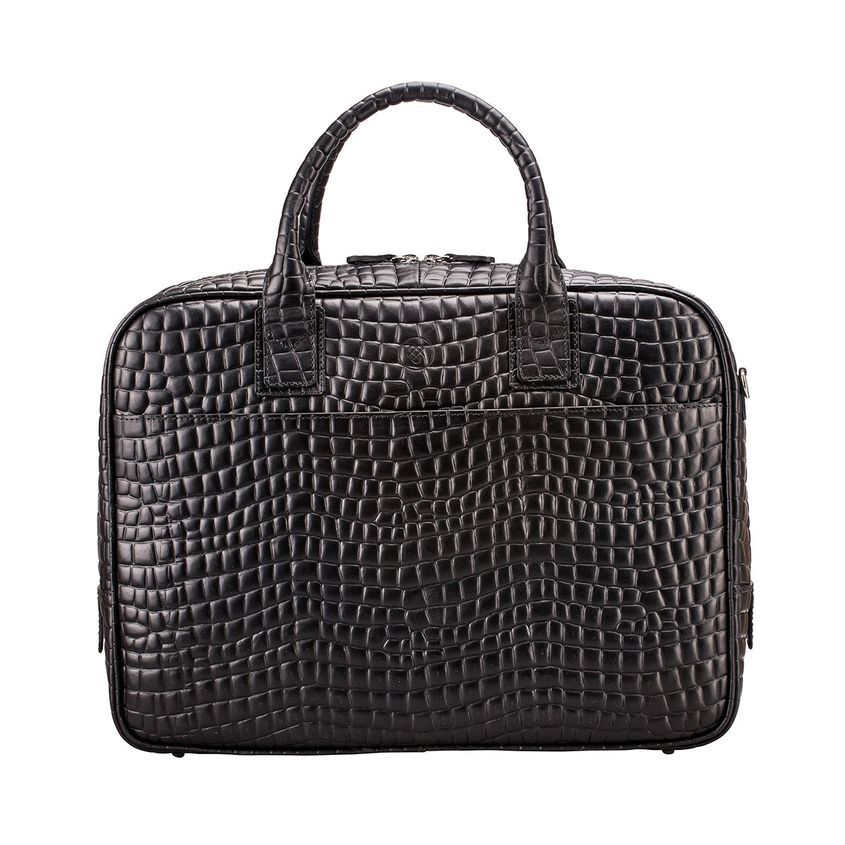 Image 1 of the 'Calvino' Black Croco Veg-Tanned Leather Briefcase